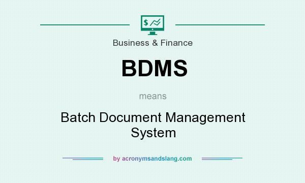 What does BDMS mean? It stands for Batch Document Management System