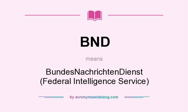 What does BND mean? It stands for BundesNachrichtenDienst (Federal Intelligence Service)