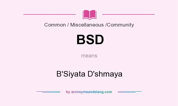 What does BSD mean? It stands for B`Siyata D`shmaya