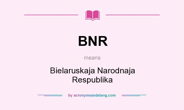 What does BNR mean? It stands for Bielaruskaja Narodnaja Respublika