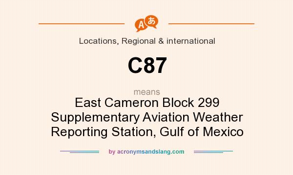 What does C87 mean? It stands for East Cameron Block 299 Supplementary Aviation Weather Reporting Station, Gulf of Mexico