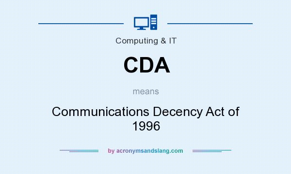 What does CDA mean? It stands for Communications Decency Act of 1996