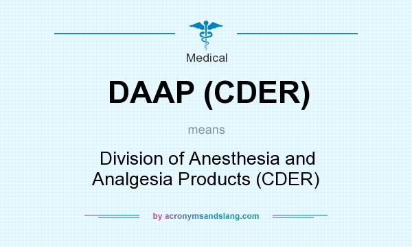 What does DAAP (CDER) mean? It stands for Division of Anesthesia and Analgesia Products (CDER)