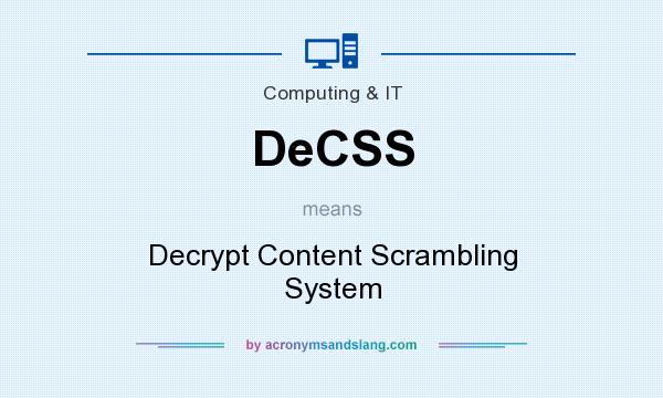 What does DeCSS mean? It stands for Decrypt Content Scrambling System