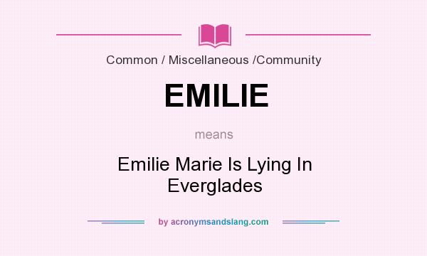 What does EMILIE mean? It stands for Emilie Marie Is Lying In Everglades