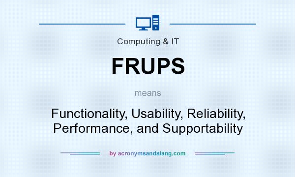 What does FRUPS mean? It stands for Functionality, Usability, Reliability, Performance, and Supportability