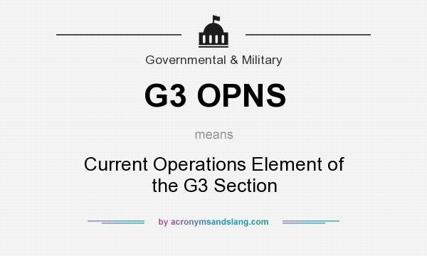 What does G3 OPNS mean? It stands for Current Operations Element of the G3 Section