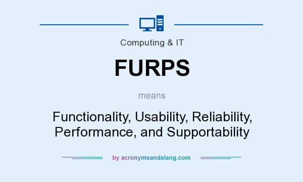 What does FURPS mean? It stands for Functionality, Usability, Reliability, Performance, and Supportability