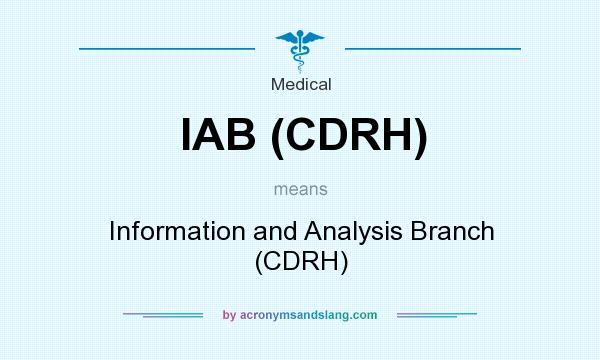 What does IAB (CDRH) mean? It stands for Information and Analysis Branch (CDRH)