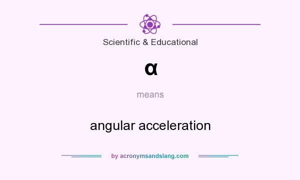 What does α mean? It stands for angular acceleration