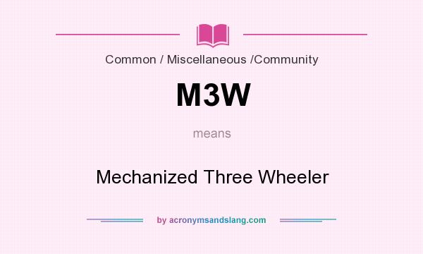 What does M3W mean? It stands for Mechanized Three Wheeler