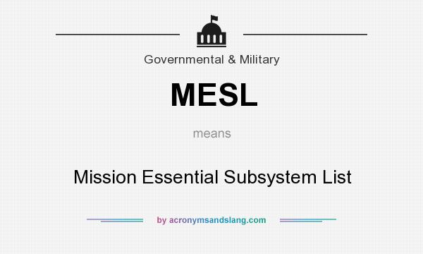 What does MESL mean? It stands for Mission Essential Subsystem List