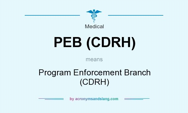 What does PEB (CDRH) mean? It stands for Program Enforcement Branch (CDRH)