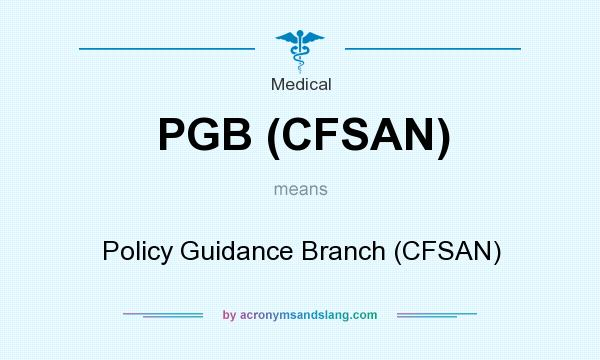 What does PGB (CFSAN) mean? It stands for Policy Guidance Branch (CFSAN)
