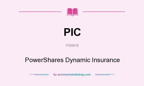 What does PIC mean? It stands for PowerShares Dynamic Insurance