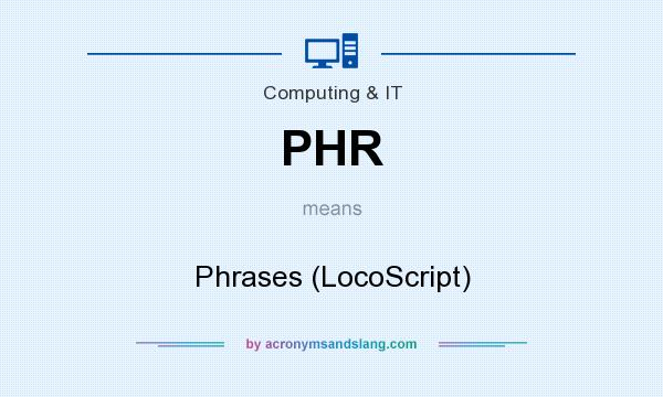 What does PHR mean? It stands for Phrases (LocoScript)