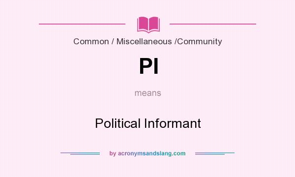 What does PI mean? It stands for Political Informant