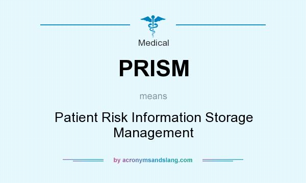 What does PRISM mean? It stands for Patient Risk Information Storage Management