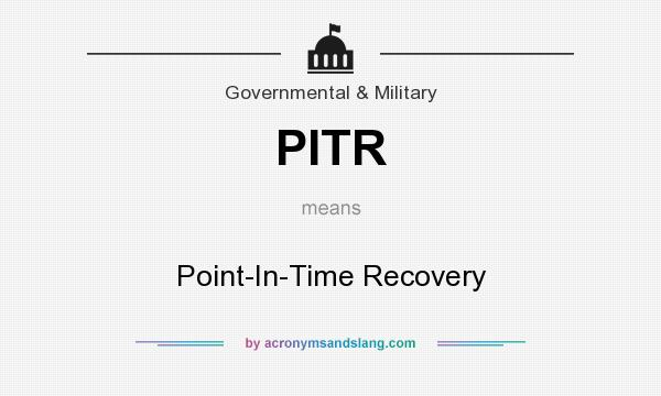 What does PITR mean? It stands for Point-In-Time Recovery