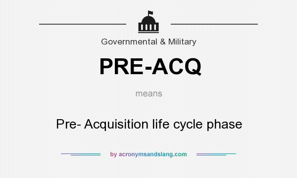 What does PRE-ACQ mean? It stands for Pre- Acquisition life cycle phase
