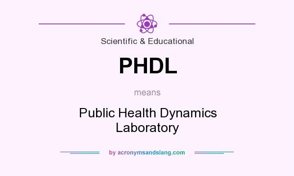 What does PHDL mean? It stands for Public Health Dynamics Laboratory