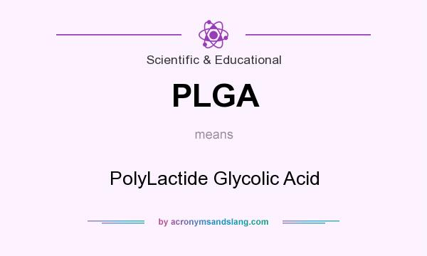 What does PLGA mean? It stands for PolyLactide Glycolic Acid