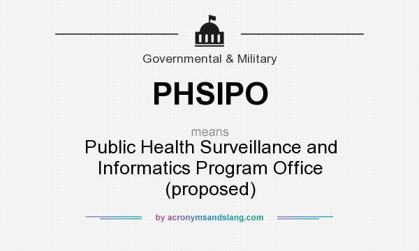What does PHSIPO mean? It stands for Public Health Surveillance and Informatics Program Office (proposed)