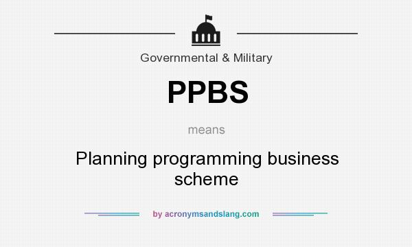 What does PPBS mean? It stands for Planning programming business scheme