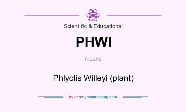 What does PHWI mean? It stands for Phlyctis Willeyi (plant)