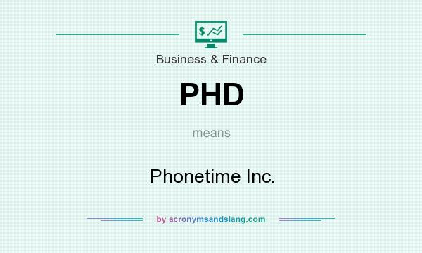 What does PHD mean? It stands for Phonetime Inc.