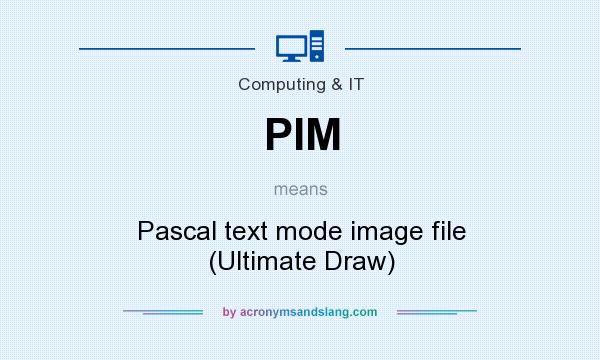 What does PIM mean? It stands for Pascal text mode image file (Ultimate Draw)