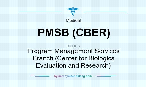 What does PMSB (CBER) mean? It stands for Program Management Services Branch (Center for Biologics Evaluation and Research)