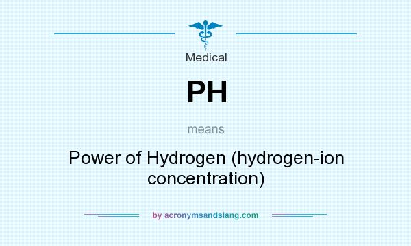 What does PH mean? It stands for Power of Hydrogen (hydrogen-ion concentration)
