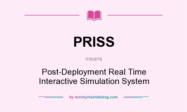 What does PRISS mean? It stands for Post-Deployment Real Time Interactive Simulation System