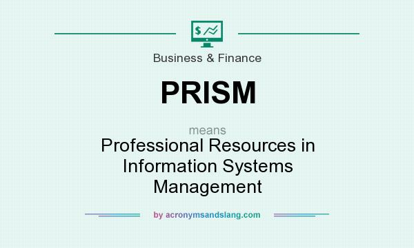 What does PRISM mean? It stands for Professional Resources in Information Systems Management