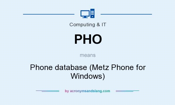 What does PHO mean? It stands for Phone database (Metz Phone for Windows)
