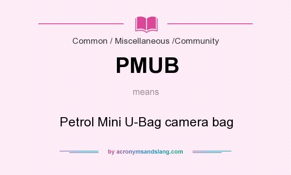 What does PMUB mean? It stands for Petrol Mini U-Bag camera bag
