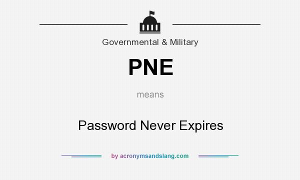 What does PNE mean? It stands for Password Never Expires