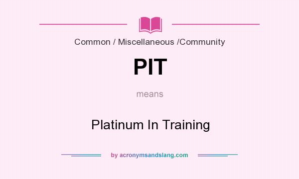 What does PIT mean? It stands for Platinum In Training