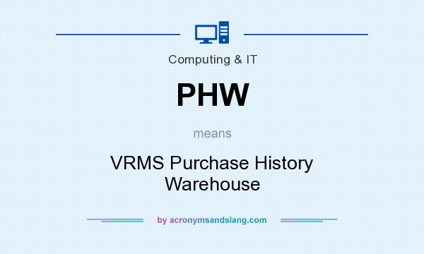 What does PHW mean? It stands for VRMS Purchase History Warehouse