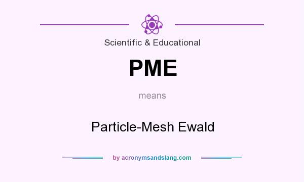 What does PME mean? It stands for Particle-Mesh Ewald