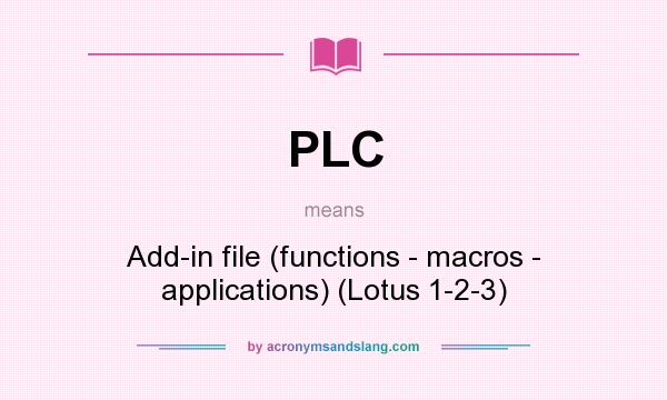What does PLC mean? It stands for Add-in file (functions - macros - applications) (Lotus 1-2-3)