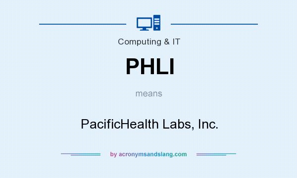What does PHLI mean? It stands for PacificHealth Labs, Inc.