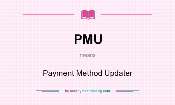 What does PMU mean? It stands for Payment Method Updater