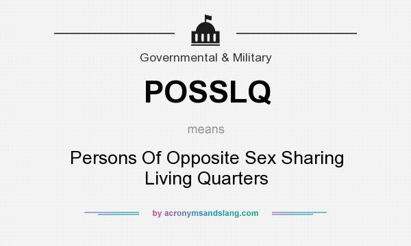 What does POSSLQ mean? It stands for Persons Of Opposite Sex Sharing Living Quarters