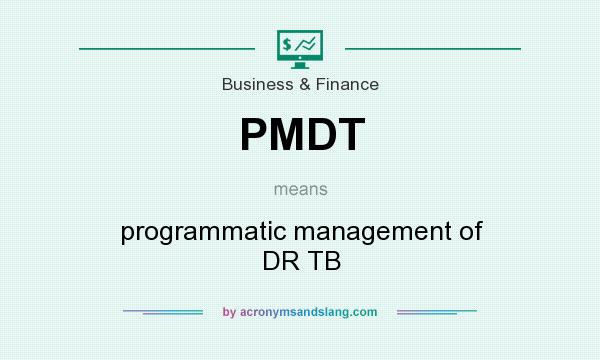 What does PMDT mean? It stands for programmatic management of DR TB