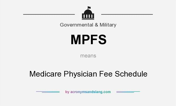 What does MPFS mean? It stands for Medicare Physician Fee Schedule