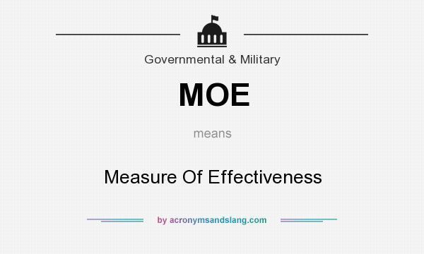 What does MOE mean? It stands for Measure Of Effectiveness