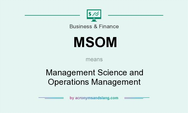 What does MSOM mean? It stands for Management Science and Operations Management