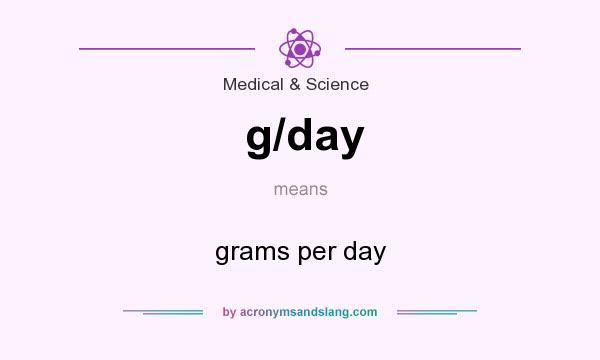 What does g/day mean? It stands for grams per day